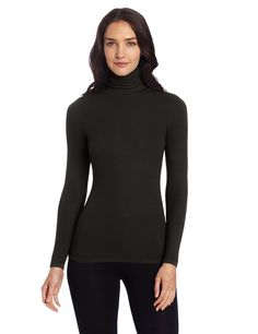 Three Dots Women's Long Sleeve Turtleneck Tee, Black, X-Large