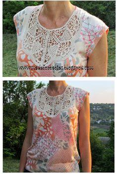 Patrones Crochet: Camiseta con Cuello de Crochet Patron