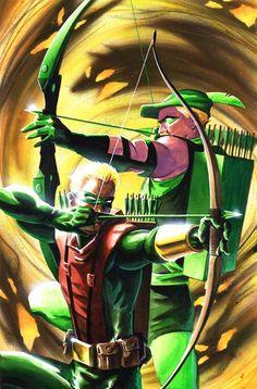 bubblesnocaptainbubbles:   Green Arrow and his son…Green Arrow?  Green Arrow and Connor Hawke by Matt Wagner