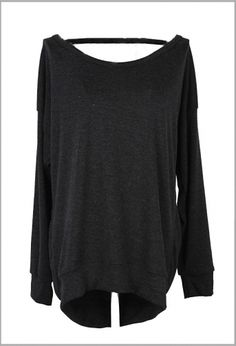 Cowl Neck Backless Long Sleeves Tee Gray on Buytrends.com, only price $8.93