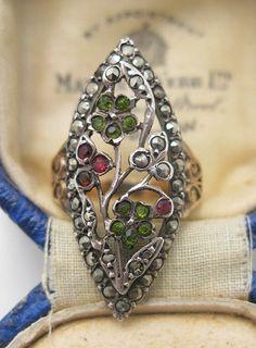 1920's Garnet, Emerald & Marcasite 14K Ring
