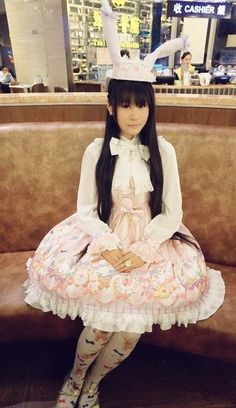 ✿✿✿ Another sweetr Chinese Lolita in Honey Honey™ Clock Bunny Prints Lolita JSK -------> http://www.my-lolita-dress.com/original-sweet-lolita-jumper-dress-with-clock-bunny-prints-hh-1 [Sold Out   View Only]
