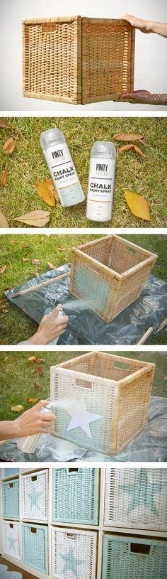 DIY: Spray paint your rattan baskets DIY: Cestas pintadas con Chalk paint en spray. Spray Paint Wicker, Silver Spray Paint, Diy Spray Paint, Painted Wicker, Spray Painting, Spray Chalk, Spray Paint Projects, Home And Deco, Diy Home Decor