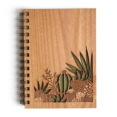 Desert Garden Wood Journal | laser cut & engraved wood journal | botanical, tropical, desert theme
