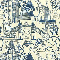 Destination 3 - azul metálico - Más telas decorativas - Telas de decoración para niños - telas.es