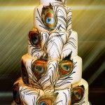 wedding cake peacock feathers
