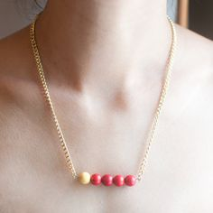 Resin Pink Red Yellow Small Beaded Pendant Necklace by sanwaitsai