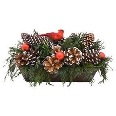 "Preserved green cedar with frosted pinecones and red ornaments in a wood container.   Product: ArrangementConstruction Material: Silicone and woodColor: BrownDimensions: 6"" H x 14"" W x 3"" DCleaning and Care: Wipe gently with a dry cloth. Avoid sunlight and humidity."