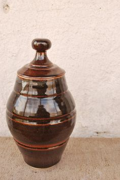 Ceramic Lidded Vessel Urn High Fired by PaolasClayShop on Etsy, $45.00
