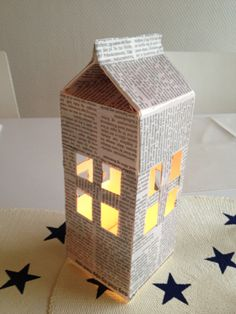 """DIY """"House"""" - milk carton and newspaper candleholder! So easy and cheap :D"""