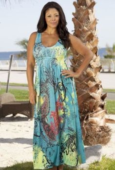 Aqua Dream Plus Size Tank Maxi Dress