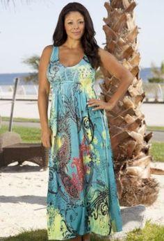 Aqua Dream Plus Size Tank Maxi Dress