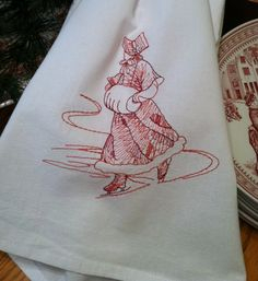 Embroidered Tea Towel Flour Sack Toile Victorian Ice by lynndalou
