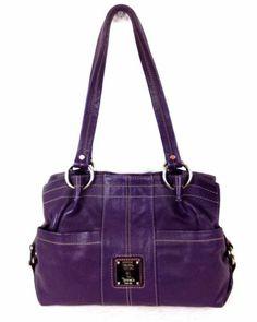 5c80f9be69b8 Tignanello Purse Leather Purple Satchel Zip Up Shoulder Bag Handbag Womens  L
