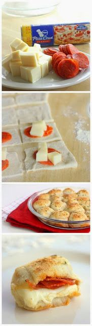 Stuffed Pizza Rolls - We LOVED these! SO easy to do and super yummy ;) I used Pillsbury pizza dough, Great Value whole milk mozzarella, and. I Love Food, Good Food, Yummy Food, Tasty, Football Food, Appetizer Recipes, Appetizers, Finger Foods, Food To Make