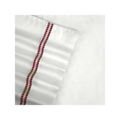 Embroidered Sateen 400-Thread Count Egyptian Cotton Deep-Pocket Sheets, Red Cal King