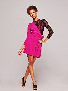 pink dress with a side of lace.