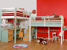Les deux lits mezzanine côte-à-côte -Espace Loggia