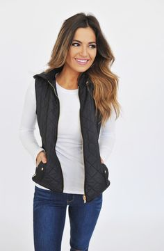 Quilted Hooded Vest- Black - Dottie Couture Boutique