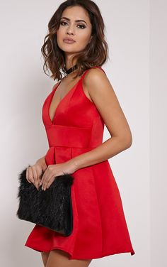 Red Satin Strappy Skater Dress The ultimate party dress is here - featuring dramatic puffball sk...