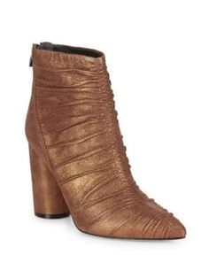 $450.0. SIGERSON MORRISON Boot Kimay Ruched Leather Ankle Boots #sigersonmorrison #boot #anklehigh #highheel #leather #shoes Leather Flats, Leather Ankle Boots, Ankle Booties, Glitter Boots, Sigerson Morrison, Kinds Of Shoes, Booty, Toe, Addiction