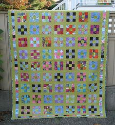 "Made by ""maripen"" with the Crazy Mom Quilt Along.  See crazymomquilts.com for tutorial on 36 patch quilt."