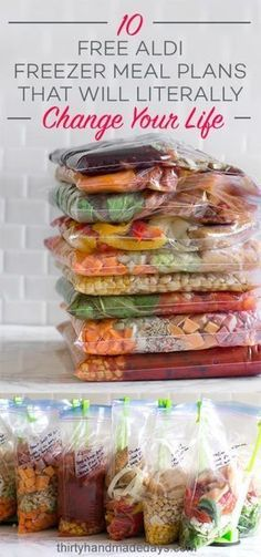 10 Free ALDI Freezer Meal Plans that will literally change your life! Each freezer meal plan includes free printable recipes and a grocery list.