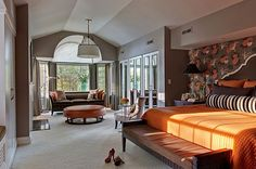 Eclectic Bedroom Master Bedroom Design, Pictures, Remodel, Decor and Ideas - page 4 Chic Master Bedroom, Master Bedroom Design, Dream Bedroom, Home Bedroom, Modern Bedroom, Bedroom Decor, Bedroom Ideas, Bedroom Seating, Master Bedrooms