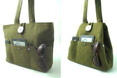 Grüne Handtasche Stoffbeutel konvertiert Hobo, Wickeltasche, Schultertasche, Gobelin Handtasche