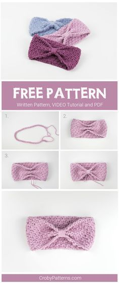 Simple and easy to make crochet headband for babies. Free pattern and video tutorial.