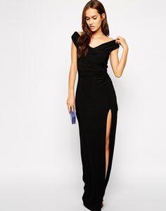 Jessica+Wright+Sarah+Off+Shoulder+Maxi+Dress+with+Thigh+Split