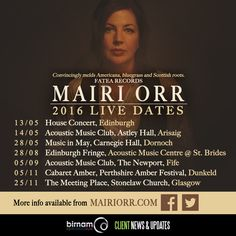 Upcoming live dates for Mairi Orr Music throughout the year. More info: http://www.mairiorr.com/