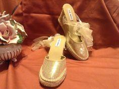 SOLD!!  Women Ladies Steve Madden Metallic Gold Espadrilles Wedges 9 NWOB Gladiators #SteveMadden #Espadrilles #Party