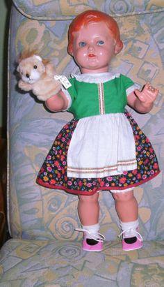 Alte-Schildkroet-Puppe-Rote-Erika-53-cm-komplett-eingekleidet-Seltene-Groesse