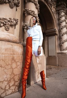 Vetements x Manolo Blahnik Orange Satin Boots