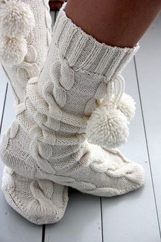 Cute knit bootie slippers - I would live in these in the winter!!