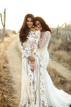 Megan Gale and Pia Miller in ZUHAIR MURAD and Bo & Luca wedding dress gown bohemian beach vintage classic long sleeve lace sheath slim silhouette
