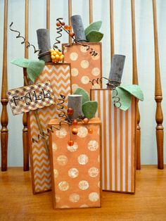 New No Cost Fall Pumpkins- Thoughts Fall Pumpkins- Fall Craft Fairs, Craft Show Ideas, Wood Block Crafts, Wood Blocks, Wood Crafts, 4x4 Crafts, Fall Wood Projects, Crafty Projects, Fall Pumpkins