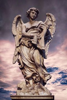 This is one of ten Angel statues adorning the Ponte Sant'Angelo (once the Aelian Bridge or Pons Aelius, meaning the Bridge of Hadrian) in Rome.