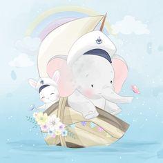 Cute little elephant flying with cute bunny Little Elephant, Elephant Art, Cute Elephant, Indian Elephant, Baby Animals, Cute Animals, Baby Elephants, Wild Animals, Boat Cartoon