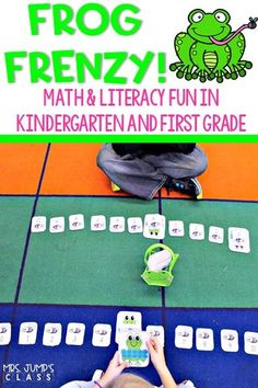 Math and literacy activities to help you teach all about frogs in kindergarten and 1st grade. Great to use in the Spring! #kindergarten #firstgrade #frogfrenzy #nonfictionunit #allaboutfrogs