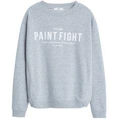 Mango Message Sweatshirt, Medium Grey (432.995 IDR) ❤ liked on Polyvore featuring tops, hoodies, sweatshirts, sweaters, sweatshirt, shirts, sweat shirts, grey crew neck sweatshirt, long sleeve tops and sweatshirts hoodies