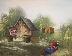 Super Mario Brothers Mario and Piranha Flowers Parody Painting, 'Pause' - Enhanced Thrift Art