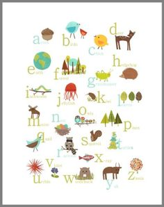 Nature Themed English Alphabet Wall Art Print 18x24, Nursery Decor, Kid's Wall Art Print, Kid's Room Decor, Gender Neutral Nursery Decor, Animal ABC Poster, Baby Room Decor, Playroom Decor, Classroom Decor, Eco Friendly, Baby Shower, Children Inspire Design Children Inspire Design http://www.amazon.com/dp/B00JONPGNK/ref=cm_sw_r_pi_dp_DWDmvb0PCB2YT