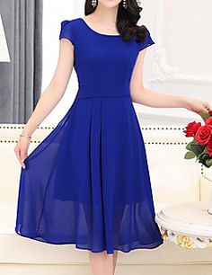 Women's+Going+out+Casual/Daily+Simple+A+Line+Sheath+Dress,Solid+Round+Neck+Knee-length+Short+Sleeve+Polyester+Summer+High+Rise+–+USD+$+15.99