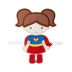 Super Girl Pigtails Applique Design by MissDelaneyShop on Etsy, $4.00