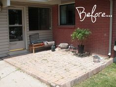 I would say that this is a typical, under loved entry way, but the makeover that this homeowner gave to the front of his home is so perfect and inviting and … Outdoor Rooms, Outdoor Gardens, Outdoor Living, Outdoor Decor, Garden Pavers, Balcony Garden, Small Japanese Garden, Japanese Gardens, Small Basin