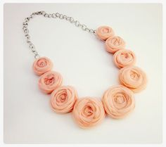 Rosette Necklace in Pink and Silver by ThriftyandFabulous on Etsy, $16.00 #brianarenestore