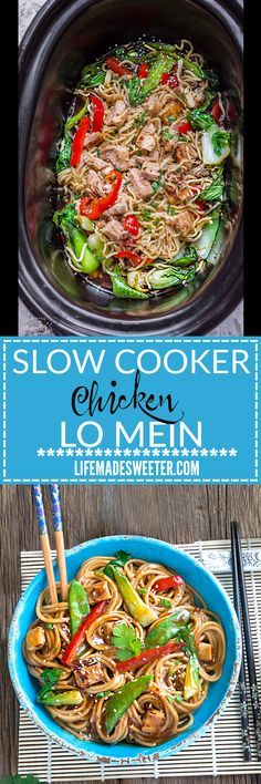 Slow Cooker Chicken Lo Mein makes the perfect easy Asian-inspired weeknight meal! Best of all, takes only 15 minutes to put together with the most authentic flavors! My father was the head chef at a top Hong Kong Chinese restaurant and this was his specialty! So delicious and way better than any takeout!