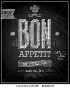 Vintage Bon Appetit Poster - Chalkboard. Vector illustration. - stock vector